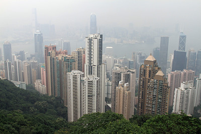 Hong Kong from Victoria Peak on a very hazy day.