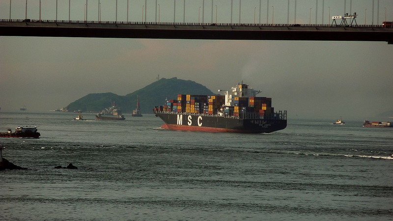MSC Judith in Ma Wan Channel with the small island of Kau Yi Chau ahead of her