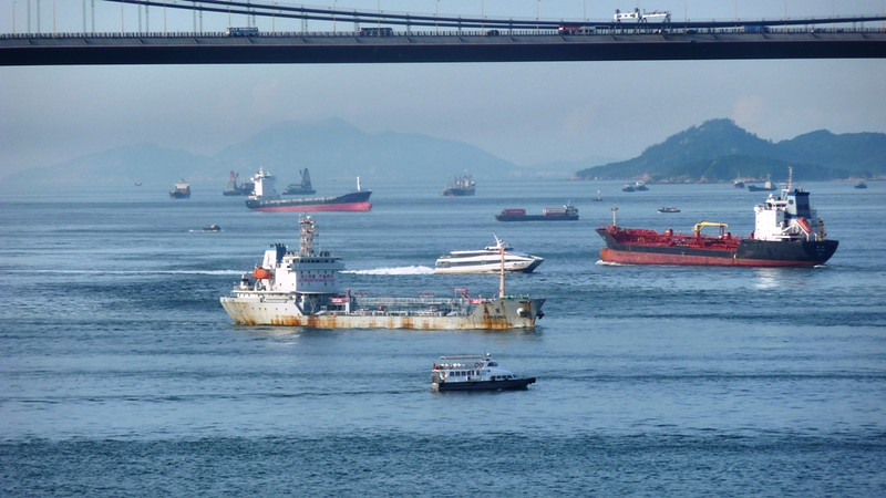 Busy shipping channel between Lantau and Tsing Yi islands
