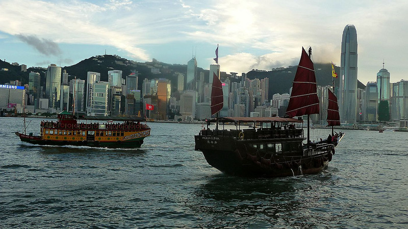 Tourist cruise boats 'Noble House' and 'Aqua Luna' off Tsim Sha Tsui - the former deriving its name from James Clavell's novel about the powerful British trading companies that 'founded' Hong Kong