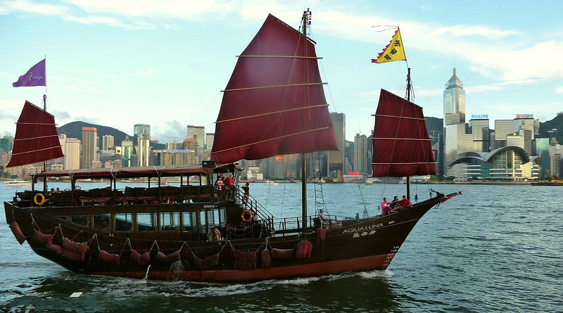 Aqua Luna, a modern excursion boat built in the style of a traditional Chinese junk