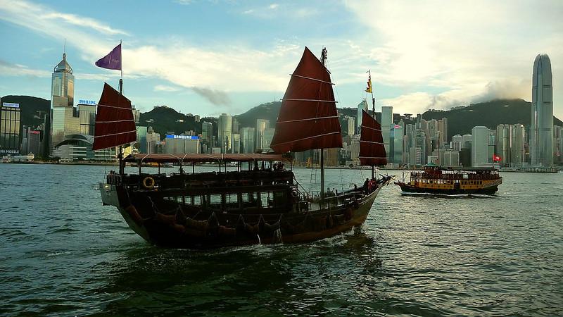 Tourist cruise boats 'Aqua Luna,and Noble House' off Tsim Sha Tsui
