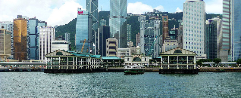 Approaching the new Central Pier on Hong Kong Island with MV Twinkling Star departing.