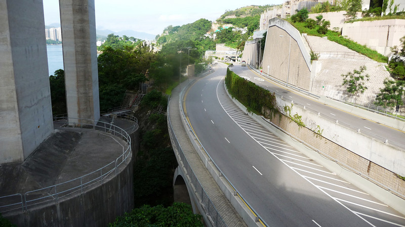 Massive foundations of the Ting Kau Bridge and a two tier section of Castle Peak Road