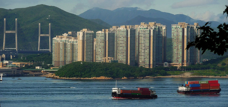 Container transhipments off Ma Wan