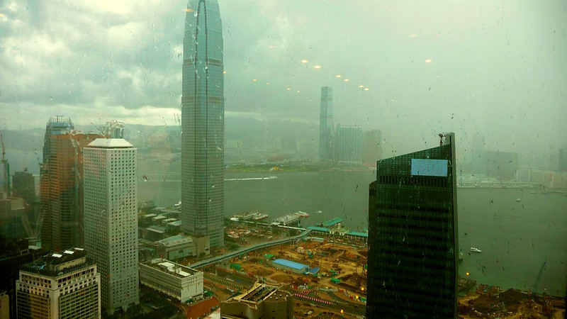 Across rainy Hong Kong and Victoria Harbour