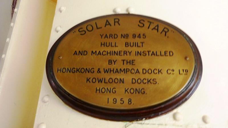Builders plate of MV Solar Star