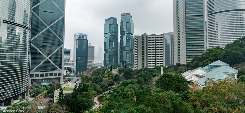 The two twin buildings in the middle are the Lippo Centre Twin Towers. Pretty cool architecture.