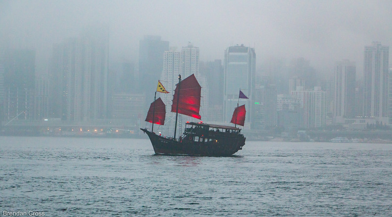 A junk out in the misty bay.
