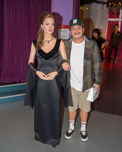 Jun with Angelina Jolie (or at least a wax version of her)