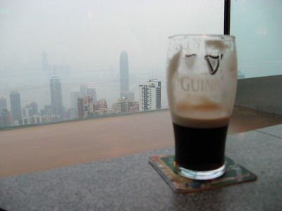 Nothing quite like enjoying a Guinness while looking down on Hong Kong...