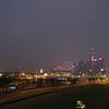 Hong Kong views from a pedestrian overpass.