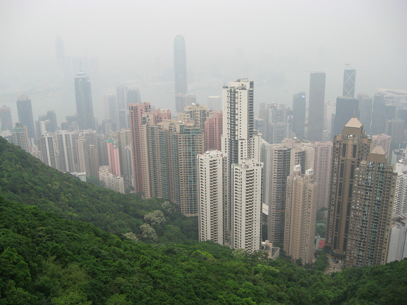 Looking down on the skyscrapers of Hong Kong.