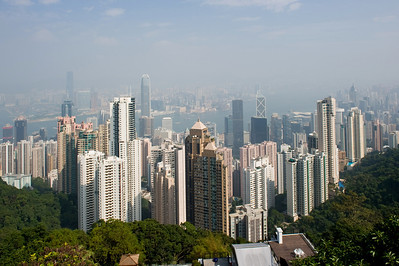 "The Hong Kong Skyline. View point from the ""Peak""."