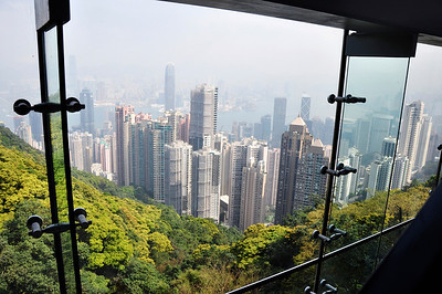 Victoria Peak, we took the tram ride and walked around at the top.  The tram is incredibly steep!