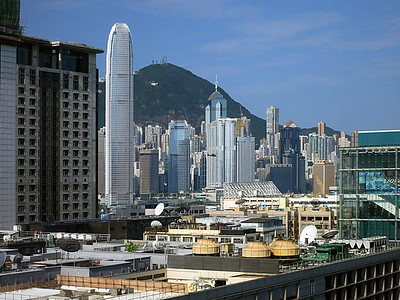 Two International Finance Centre, second-tallest building in Hong Kong, 88 floors — from our hotel room