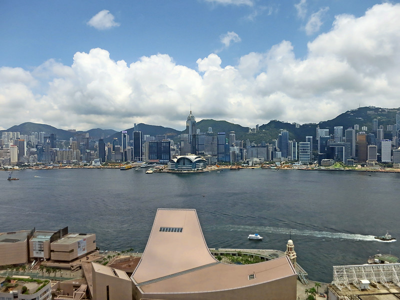 HK skyline seen from above HK Cultural Centre in Kowloon