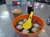 Soup with beef balls (made with tangerine peel and white pepper) from Tak Fat Kee, Haiphong Rd. Temporary Market, Kowloon