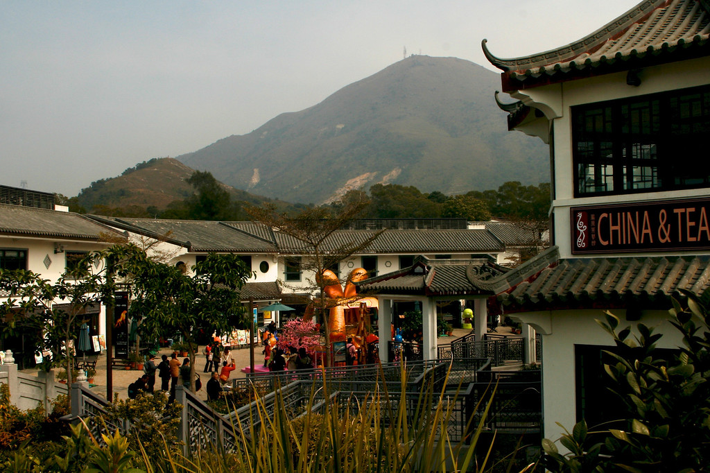 After departing the cable car you go into the village of Ngong Ping. Here you see such traditional Buddhist delights as Starbuck's Coffee and Subway Sandwiches. I suspect that Disney had its hand in building this village and the cable car ride.