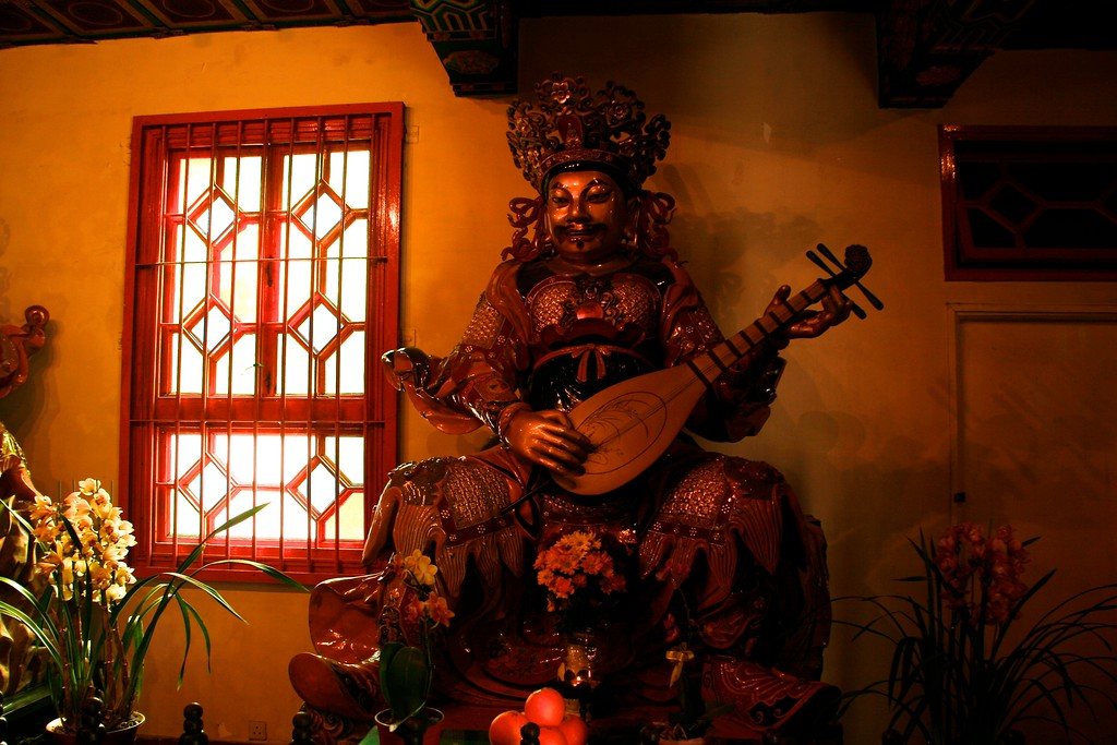 The Po Lin Monastery shows many examples of Buddhist art.
