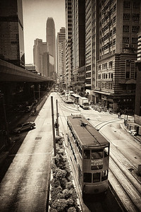 Sheung Wan district on HK island with traditional buses