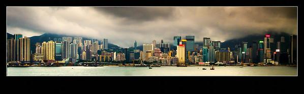 黑云密布的香港维多利亚港,不一样的视觉感受