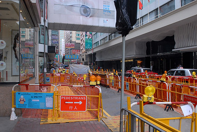 Barricades and street construction.