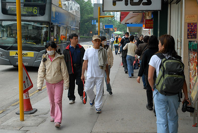 Walking on the streets of Hong Kong.