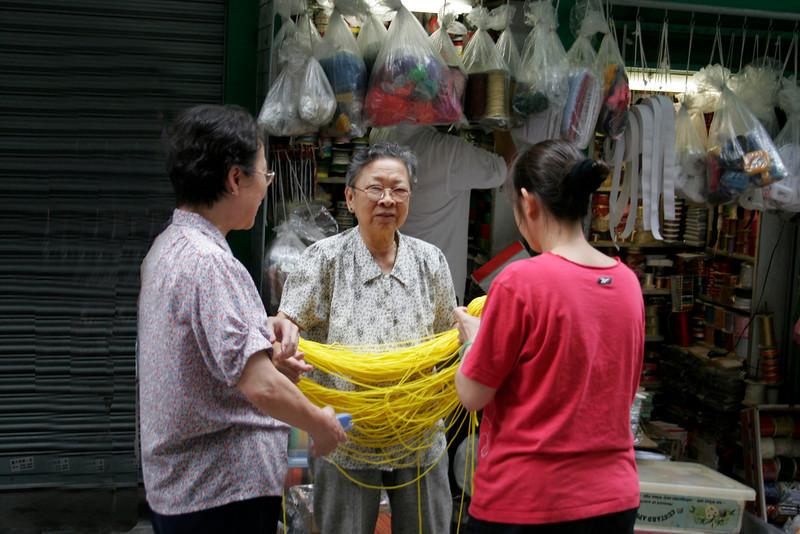 At the yarn shop.