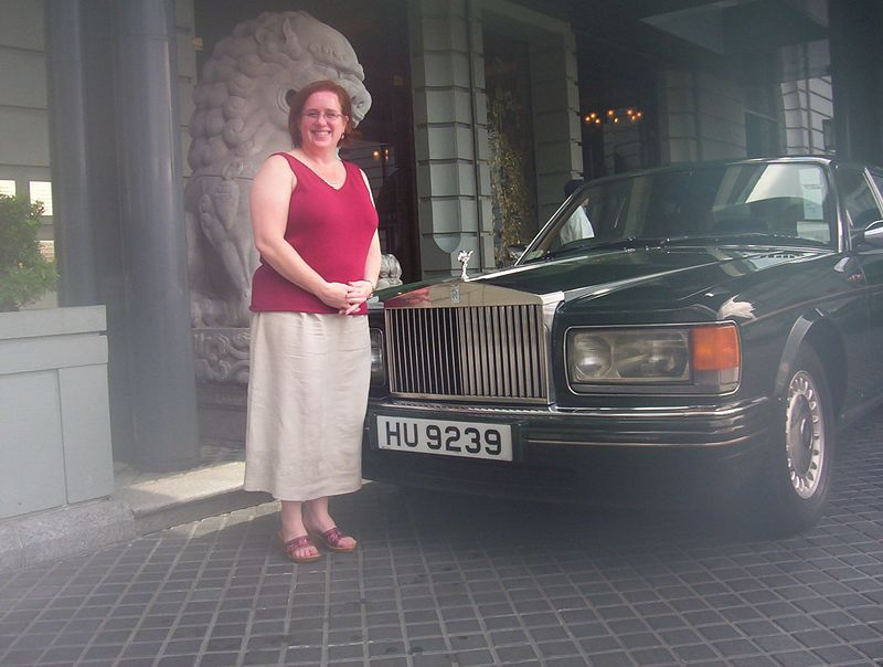 The Silver Spur Rolls Royce that picked me up at the airport.  (No, it's not a misty remembrance -- the lens fogged up as soon as we went outside to take the photo!)