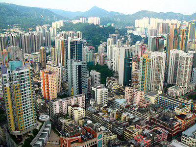 Shot taken from atop Nina tower towards Kowloon side developments.