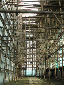Bamboo scaffolding on the Nina Tower.