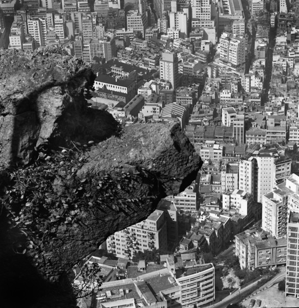 In the mountains above town Letarte and I hike to see the harbor. We find Godzilla devouring the city below.