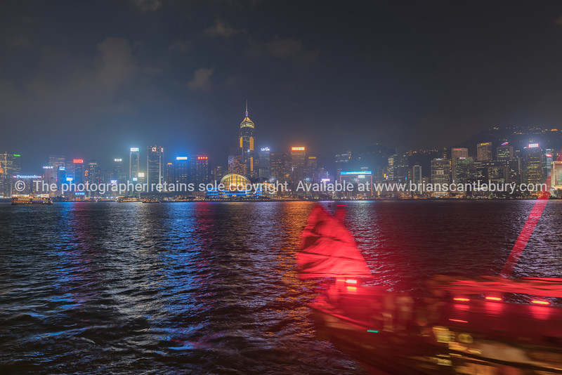 Spectacular lights and commercial skyline  with array of advertising neons on Hong Kong Island