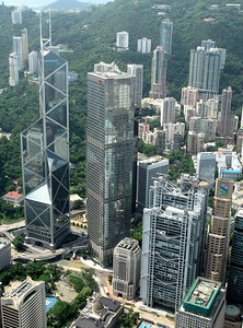 The Bank of China (left of center) and Hong Kong Shanghai Bank (right of center).