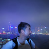 One exhausted photographer, in the poring rain, rooftop of the garage, Marco Polo Hotel, Kowloon.