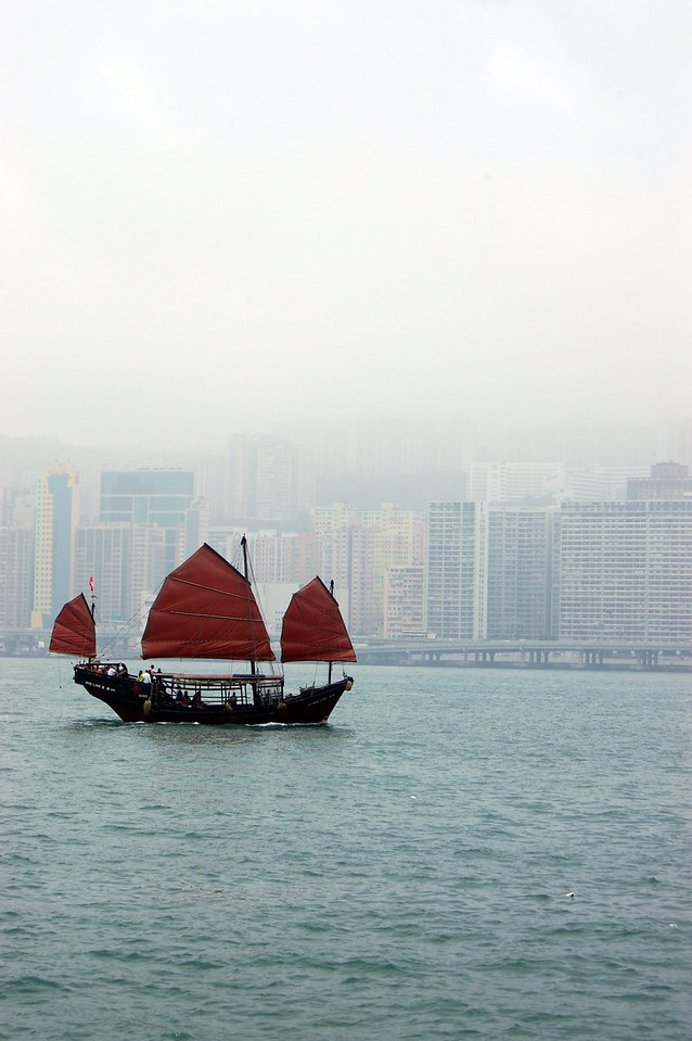 Iconic chinese junk in Victoria Harbour