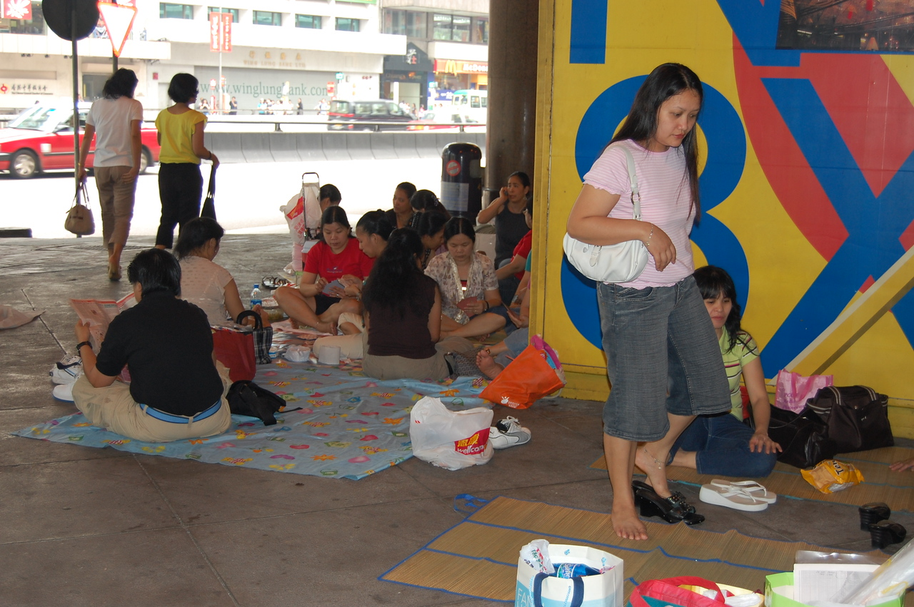 The Filipino maids all having their holiday picnics around the downtown parking garages.  This was happening all over town. With all the glorious parks in HK, we'd find them congregating in the strangest places.