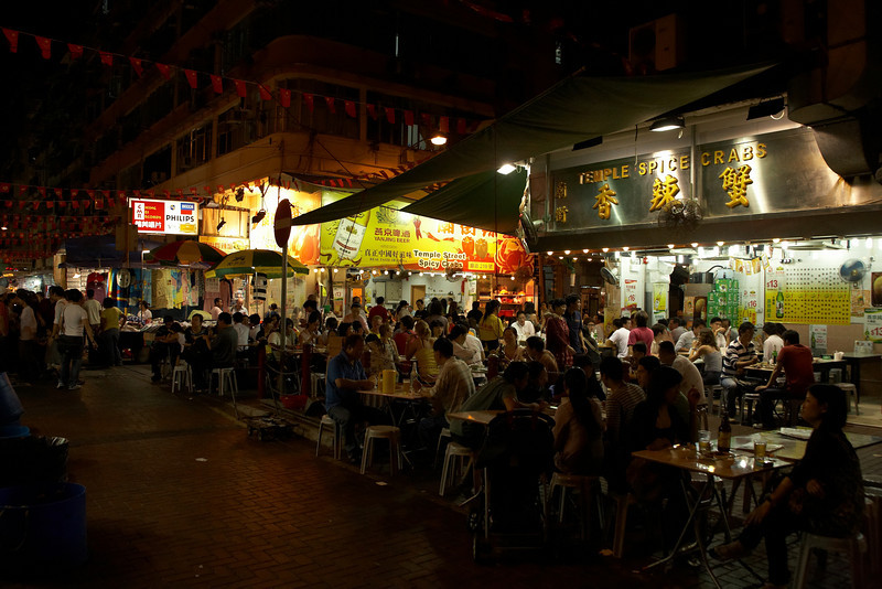 Outdoor dining near the Temple Street Night Market.