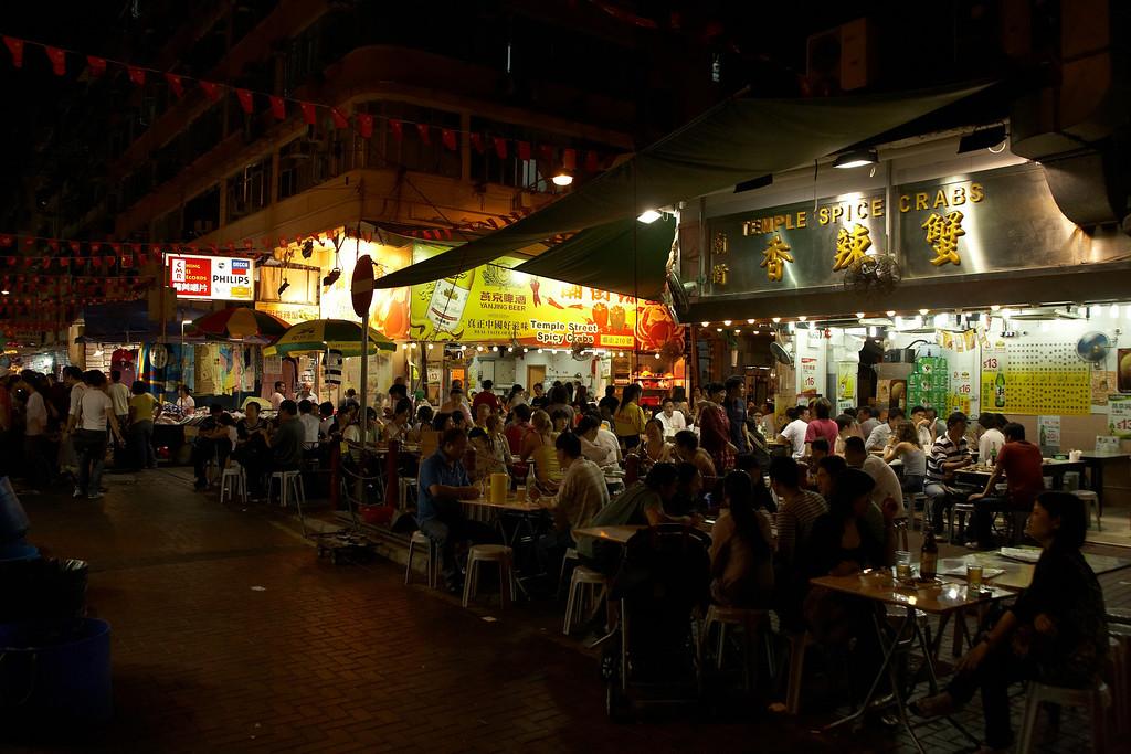 Outdoor dining near the Temple Street Night Market.