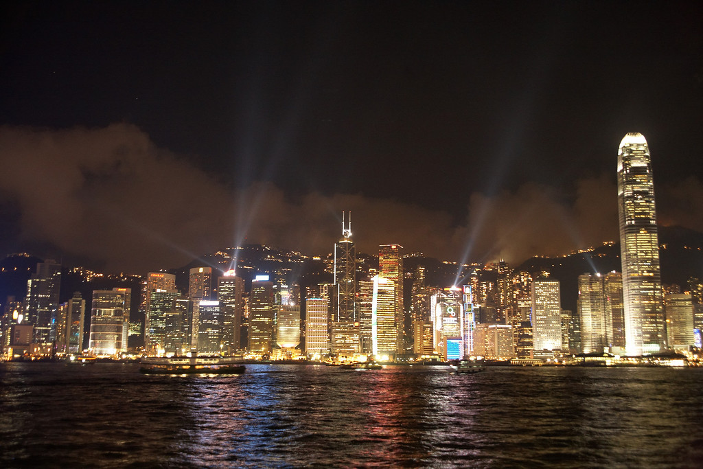 There's a light show daily at 8pm in down town Hong Kong. The show is best seen from the Kowloon side of Victoria Harbor.