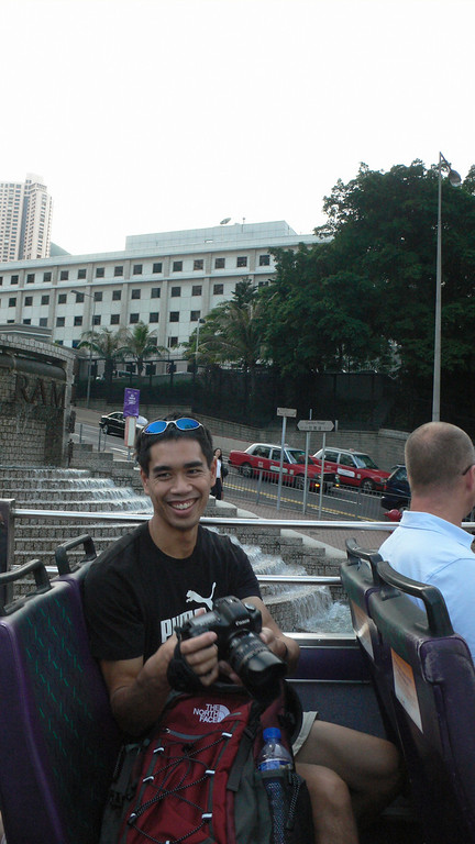 We rode a bus back from the Peak Tram to the harbor.