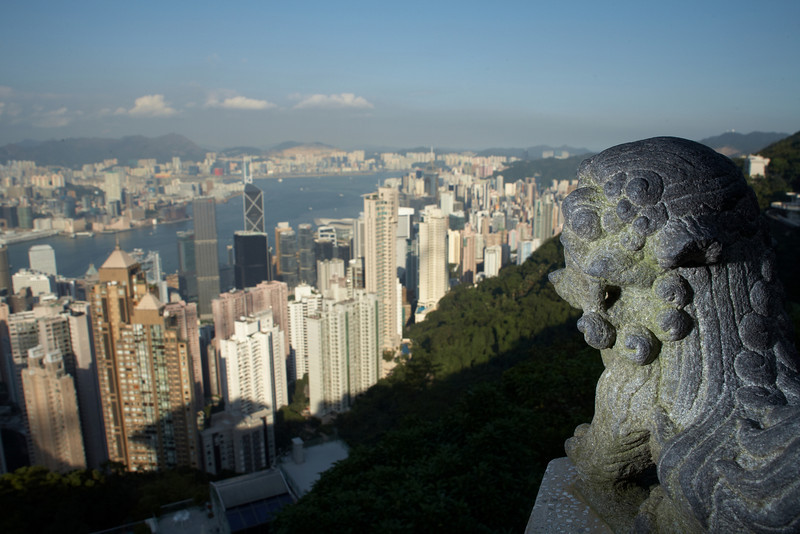 This is a view of down town Hong Kong from the top of Victoria Peak.