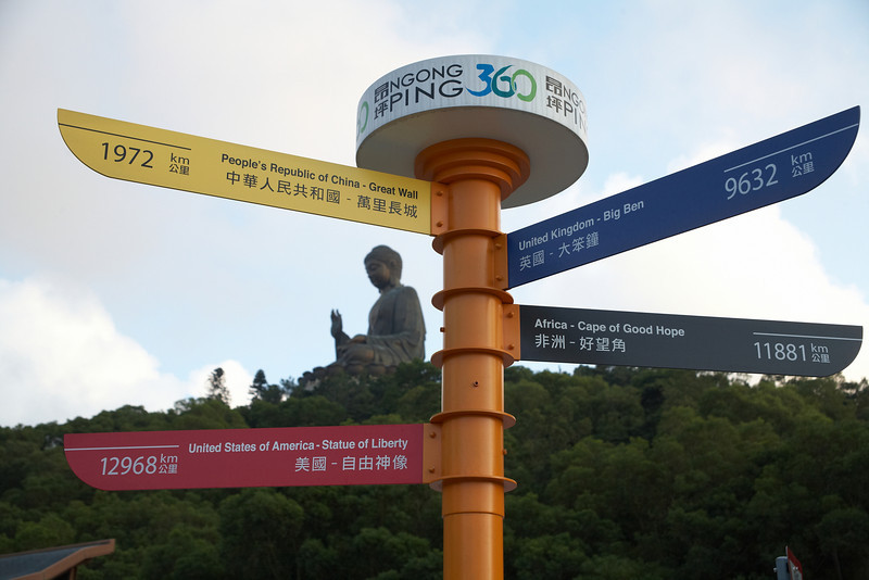 This sign shows the direction and distance to other famous sites from around the world.