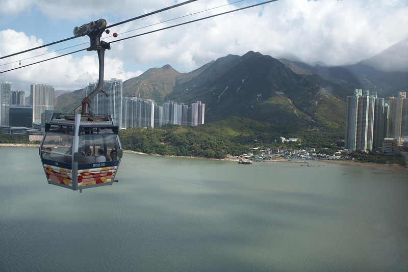 This is the Ngong Ping cable car ride up to the Po Lin Monastery.