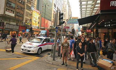 Hongkongse drukte. Nathan Road, Kowloon, Hongkong.