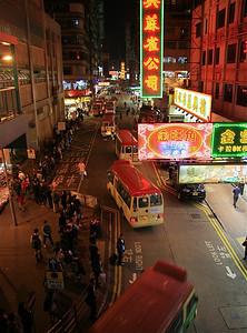 In de rij voor de bus. Mongkok, Hongkong.