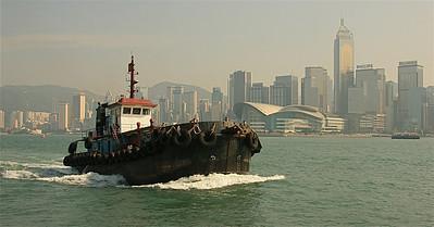 Hongkong Skyline vanaf de beroemde StarFerry. Hongkong.