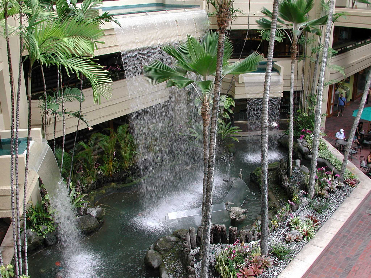The hotel lobby was open to the sky and had an indoor waterfall.