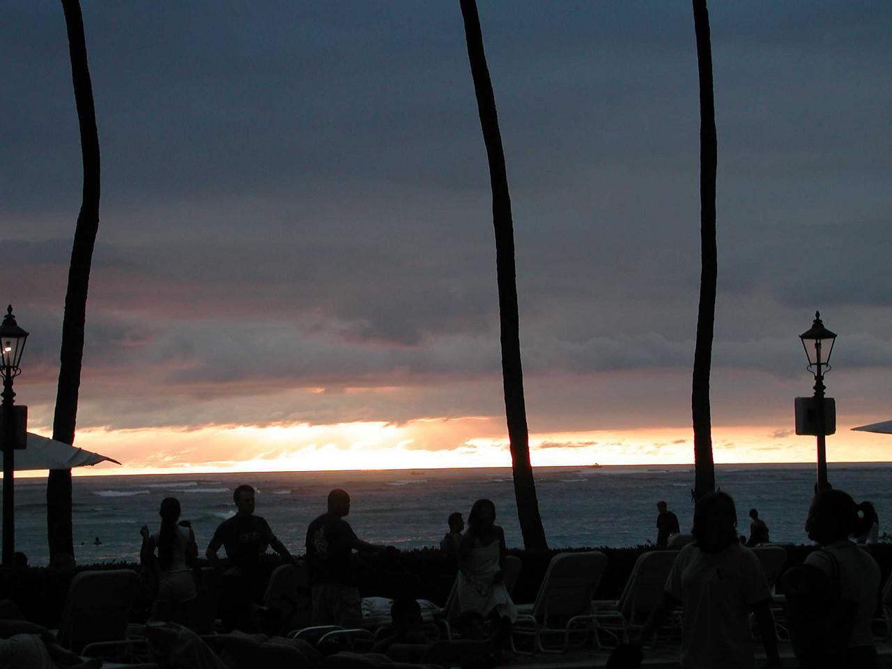 Sunset off Waikiki Beach.